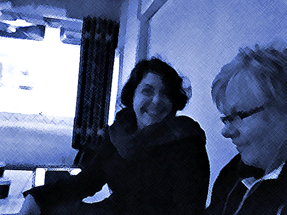 Composer, Marlene Radice chatting with StellrScope Artist, Eleanor Gates-Stuart at Questacon