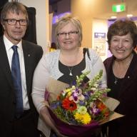 Questacon Director, Graham Durrant, Artist Eleanor Gates-Stuart and Professor Sue Stocklmayer, ANU